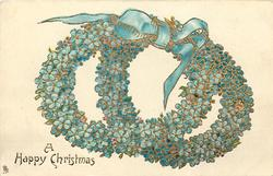 A HAPPY CHRISTMAS  double wreaths of blue forget-me-nots tied with blue bow
