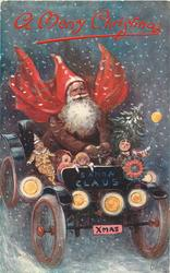 A MERRY CHRISTMAS  santa drives car with toys