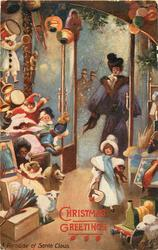 CHRISTMAS GREETINGS  lady & little lady enter shop full of toys