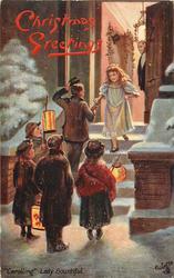 """CAROLLING."" LADY BOUNTIFUL little lady giving money for five carolling children"