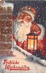 red robed Santa holds lighted lantern next to chimney