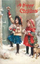 A HAPPY CHRISTMAS  two girls at door, one uses door knocker, dog right