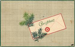 CHRISTMAS  evergreen sprigs left of envelope, tan background