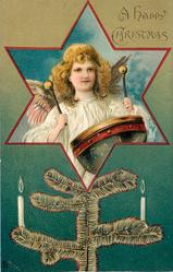 A HAPPY CHRISTMAS  angel playing drum in star inset, tree branch with candles below