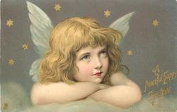A PEACEFUL HAPPY CHRISTMAS  head & shoulders of angel with folded arms looking up