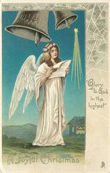 A JOYFUL CHRISTMAS   GLORY TO GOD IN THE HIGHEST  angel singing under two silver bells