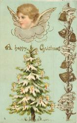 A HAPPY CHRISTMAS  head of angel facing left, Christmas tree, bells