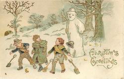 CHRISTMAS GREETINGS  three boys drop shovels, snowman behind seems to speak