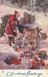CHRISTMAS GREETINGS  Santa beside upturned sleigh, scattered toys, reindeer disappearing in distance