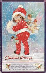 CHRISTMAS GREETINGS  girl & four fairies