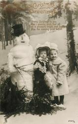 CHRISTMAS GREETINGS or A HAPPY CHRISTMAS  two girls right, snowman left