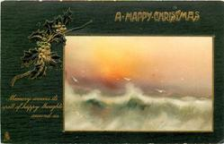 A HAPPY CHRISTMAS inset sunset seascape right, holly left