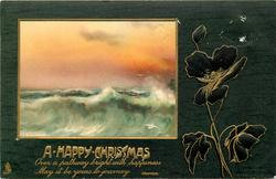 A HAPPY CHRISTMAS inset sunset seascape left, poppies right