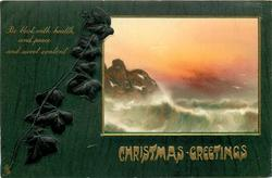 CHRISTMAS GREETINGS inset sunset seascape right, ivy left