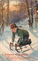 CHRISTMAS GREETINGS or A HAPPY CHRISTMAS  boy in green kneels on sled