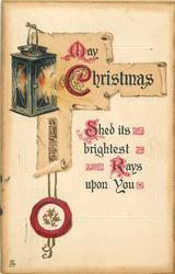 MAY CHRISTMAS  lantern & scroll