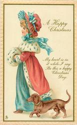 A HAPPY CHRISTMAS girl, dachshund