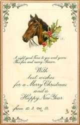 A RIGHT GOOD TIME TO YOU AND YOURS THIS FAIR AND MERRY SEASON  horse faces left