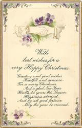 WITH BEST WISHES FOR A VERY HAPPY CHRISTMAS  clasped hands, violets