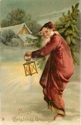 MERRY CHRISTMAS GREETINGS  red robed Santa walks toward house in snow with lantern in left hand