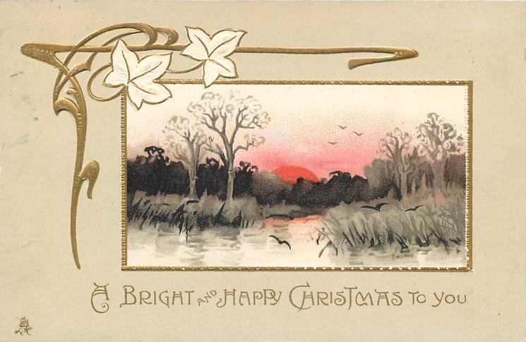 A BRIGHT AND HAPPY CHRISTMAS TO YOU  inset, marsh scene, red setting sun