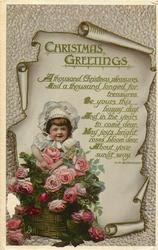 CHRISTMAS GREETINGS  girl & roses