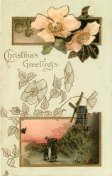CHRISTMAS GREETINGS  two insets, anemones above, mother & child in front of windmill below
