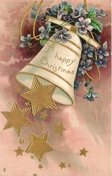 A HAPPY CHRISTMAS  many gilt stars falling from bell swinging left, blue violets above, purple background