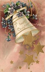 A HAPPY CHRISTMAS  many gilt stars falling from bell swinging right, blue violets above, purple background