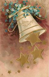 CHRISTMAS GREETINGS  many gilt stars falling from bell swinging right, blue forget-me-nots above, purple background