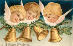 A HAPPY CHRISTMAS  three angels' heads above four bells