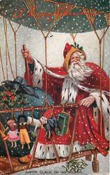 SANTA CLAUS ON HIS ROUNDS with golly in dirigible