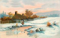 snow scene, woman with yoke & two pails approaches stream, house with fence behind her