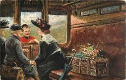 man and woman in carriage, soldier outside