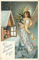 A HAPPY CHRISTMAS TO YOU  angel bearing Xmas tree, two children look out of window