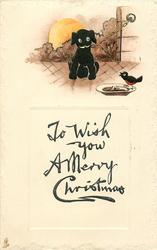 TO WISH YOU A MERRY CHRISTMAS  black puppy, robin