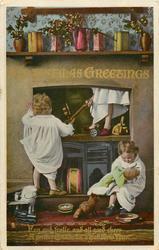 CHRISTMAS GREETINGS  three children, one in chimney