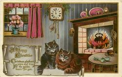 A HAPPY CHRISTMAS  CHRISTMAS   two cats, cottage interior