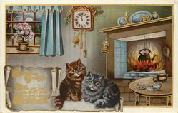 CHRISTMAS GREETINGS  two cats, cottage interior