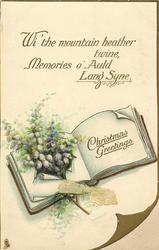 CHRISTMAS GREETINGS heather pokes through open book