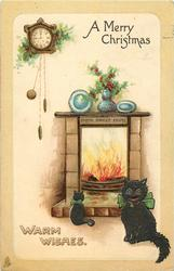 A MERRY CHRISTMAS  two cats in front of blazing fire with HOME SWEET HOME on the mantle