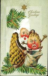 CHRISTMAS GREETINGS Santa puts crying young pine-cone person insack