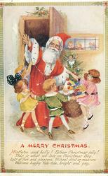 A MERRY CHRISTMAS  children dance around Father Christmas