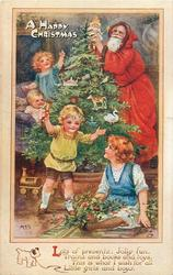 A HAPPY CHRISTMAS  four children,Santa puts doll on tree