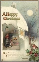 A HAPPY CHRISTMAS  kitchen scene in cut away cottage, robin on holly, full moon