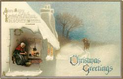 CHRISTMAS GREETINGS  woman sits by fire peeling vegetables, man & boy bring wood through snow