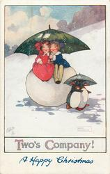 A HAPPY CHRISTMAS (in blue at base)  boy & girl sit on snowball under umbrella, two penguins also have umbrella