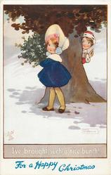 I'VE BROUGHT SUCH A NICE BUNCH!,  boy peeks at girl carrying mistletoe