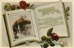 CHRISTMAS GREETINGS  girl punting on river, roses