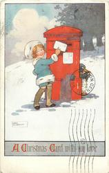 A CHRISTMAS CARD WITH MY LOVE  girl posts letter, penguin behind postbox